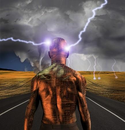human evolution: Electronic man faces storm Stock Photo