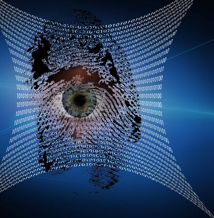 information technology law: Binary web and fingerprint with human eye