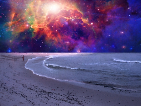 space: Child plays in surreal sea