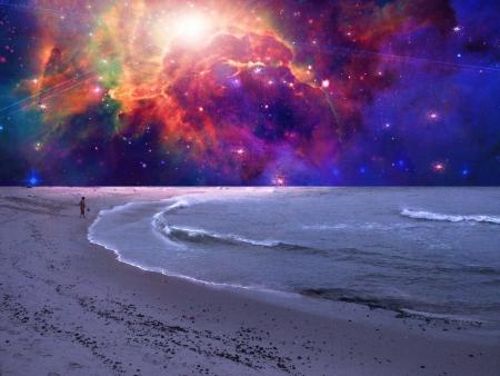 concept magical universe: Ni�o juega en mar surrealista