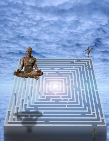 Meditation man and puzzle photo