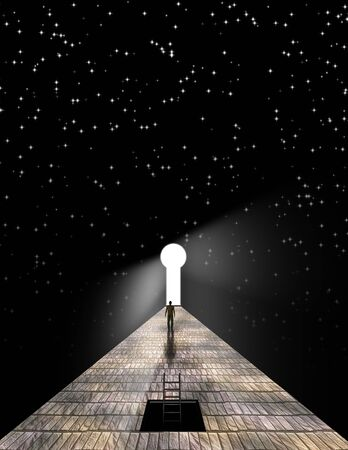 Man before keyhole with starry background Stock Photo - 7869805
