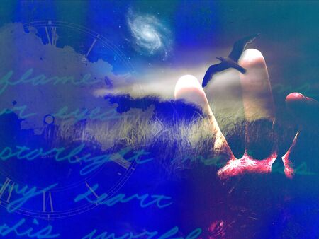 poetic: Landscape abstract with handwritten text and bird in flight Stock Photo