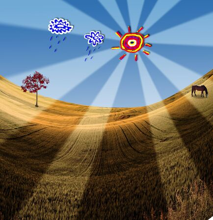 Landscape with Playful Cartoon Elements Stock Photo - 7870300