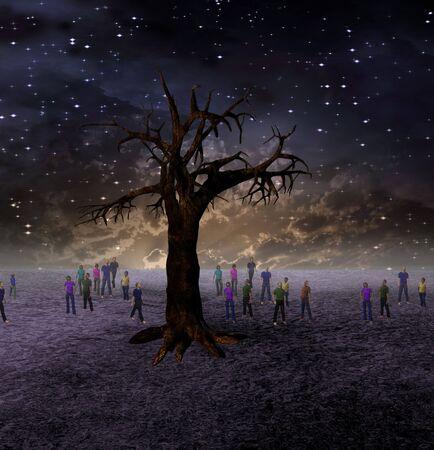 People Gather Around Large Tree on Barren World