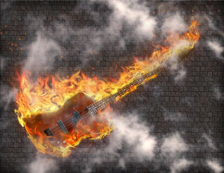 Burning Guitar with smoke against grungy stone wall