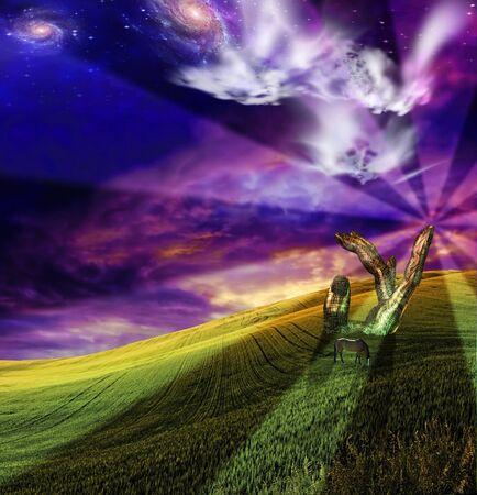 watch over: Gods watch over serene scenic Stock Photo