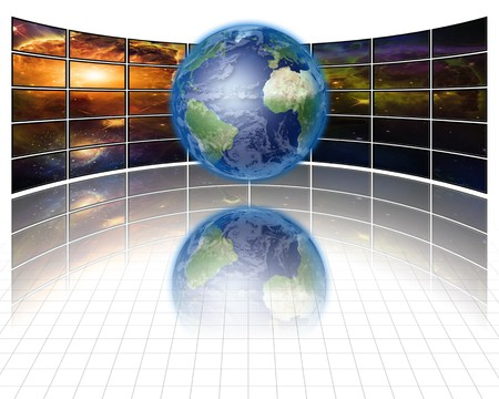 Video Screens with Earth photo