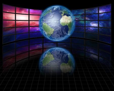 地球と高解像度のビデオ スクリーン 写真素材