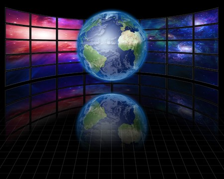 High Resolution Video Screens with Earth Stock Photo - 7962547