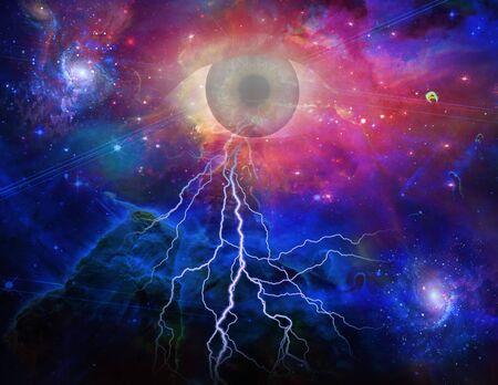 concept magical universe: Todos los ojos de ver y espacio  Foto de archivo