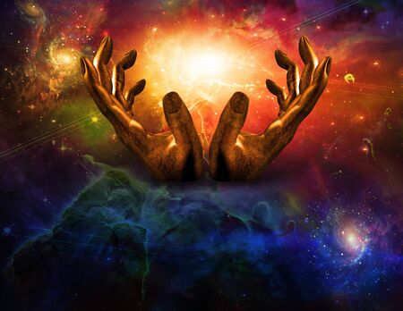 eternal life: Hands and light