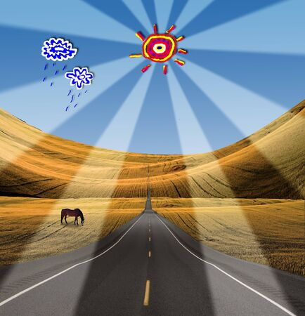 High Resolution Road in to landscape with cartoon clouds and sun Stock Photo - 7962549
