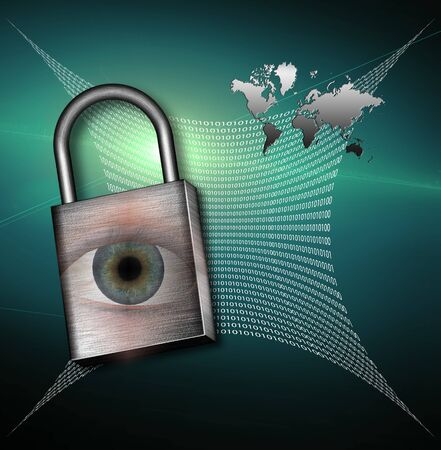 High Resolution Earth and web of machine language with padlock Stock Photo - 7962554