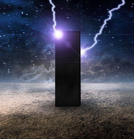 High Resolution Strange Monolith on Lifeless Planet photo