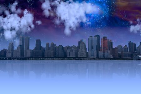 High Resolution City with reflection and night sky photo