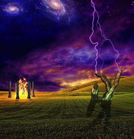 High Resolution Lighting crashes down in surreal landscape Stock Photo - 7962614