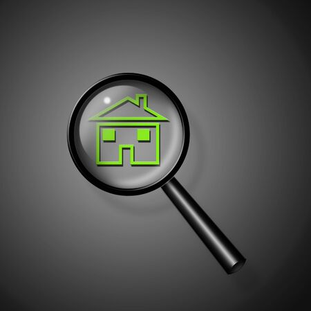 Magnify Glass Reveals Home Stock Photo