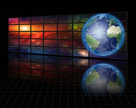 video wall: Video Screens with Earth Stock Photo