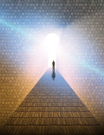 tunnel vision: High Resolution Man before keyhole of light Stock Photo