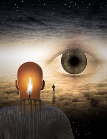 Man with burning mind in surreal cloud filled space Stock Photo - 7999547