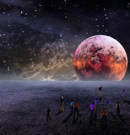 sonne mond und sterne: Menschen versammeln sich um Ansicht Moon