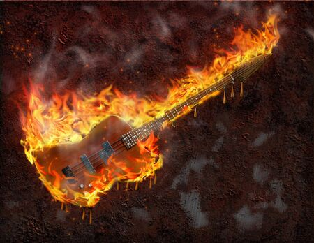 Flaming melting guitar and rusted metal surface Stock Photo - 8057964