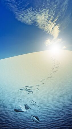 Footprints in desert White Sands New Mexico USA photo