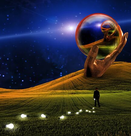 Hand Sculpture holds glass sphere in surreal landscape photo