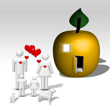 Illustrated Apple home for family photo