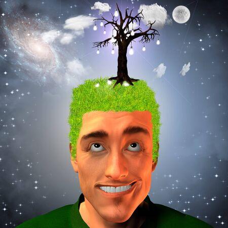 Man with tree of light bulbs on head Stock Photo - 8208428