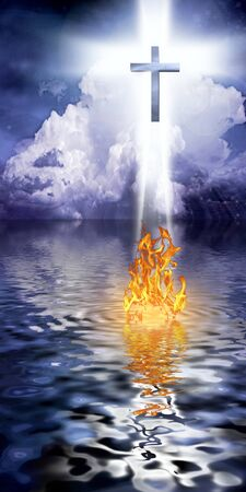 Cross Hangs in Sky over Water with Fire Burning on Waters Surface Stock Photo