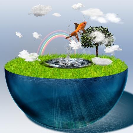 Wasser-Filled Hälfte Sphäre mit springen Fisch Standard-Bild - 8305999