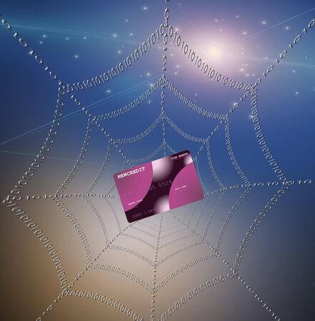 Credit card caught in web Stock Photo - 8306005