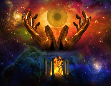 concept magical universe: Todos los ojos de ver y espacio