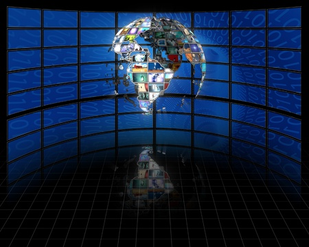 Planet earth sphere of video screens Stock Photo