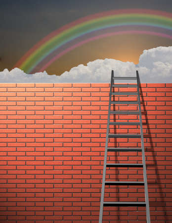 Ladder leans on wall with sky Stock Photo - 8306440