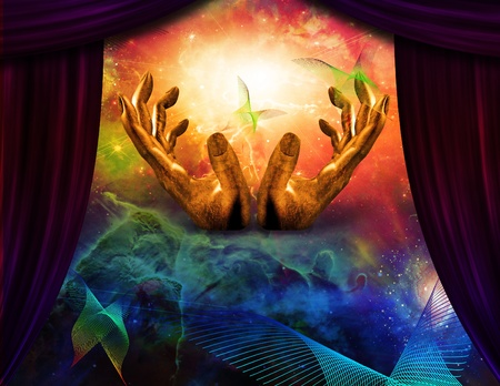 Abstract butterfly and curtain reveals hands Stock Photo - 8306397