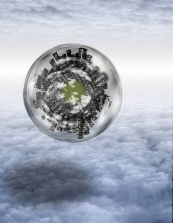 Large city sphere floats in layers of cloud photo