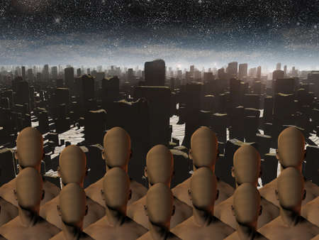 end times: Faceless masses before ruins