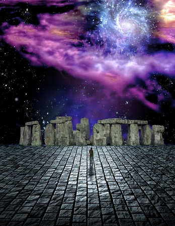 Stone structure in sci fi ike scene Stock Photo - 8437577