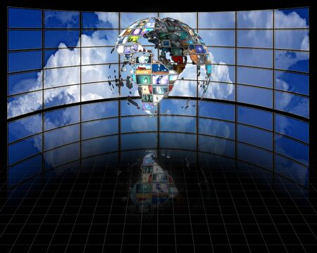 entertainment industry: Planet earth sphere of video screens Stock Photo
