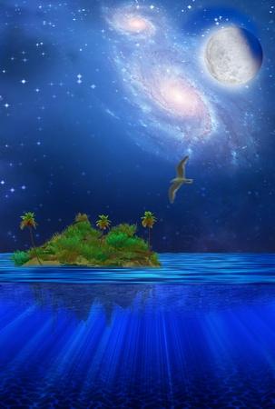 Floating Tropical Island Stock Photo - 8484769