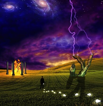 Lighting crashes down in surreal landscape Stock Photo - 8484805