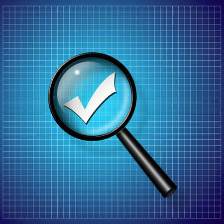 Check Mark under magnify glass Stock Photo - 8540520