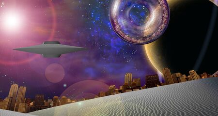 alien landscape: Large interstellar city ship near ringed planet Stock Photo