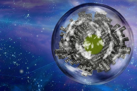 Large city ship orbits in space Stock Photo - 8540637