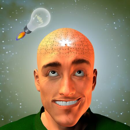 Lightbulbs in form of rocket lift above mans puzzle head photo