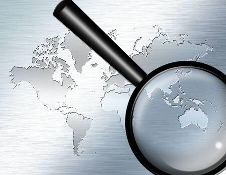 Glas-Fokus auf Australien zu vergrößern Standard-Bild - 8698825