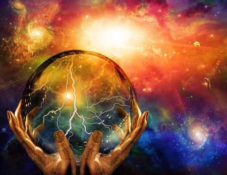energia espiritual: Observado en la esfera de energ�a Foto de archivo